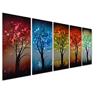 """Pure Art From Dusk til Dawn Multi-Colored Tree Metal Wall Art, 3D Wall Art for Modern and Contemporary Decor, Decorative hanging in 5-Panels Measures 24""""x 64"""", Works for Indoor and Outdoor Settings"""