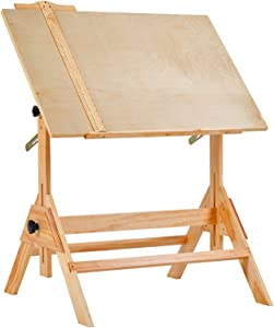 MEEDEN Solid Wood Drafting Table, Drawing Desk, Craft Table with Adjustable Height and Tiltable Tabletop for Artwork, Graphic Design, Reading, Writing