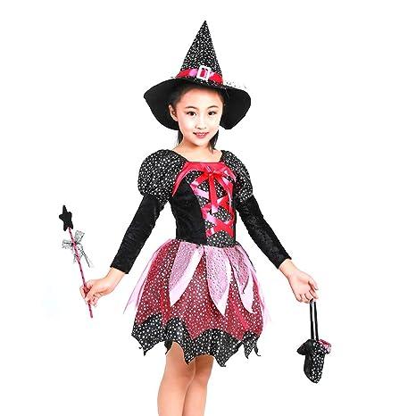 Amosfun Vestido de Traje de Bruja de Bruja de Halloween para ...