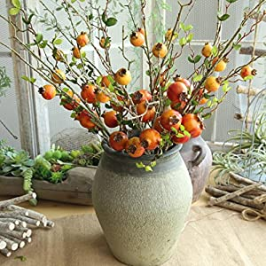 Vovomay Fake Artificial Rose Fruit Flowers Plants Pomegranate Berries Bouquet Floral Garden Home Decor 91