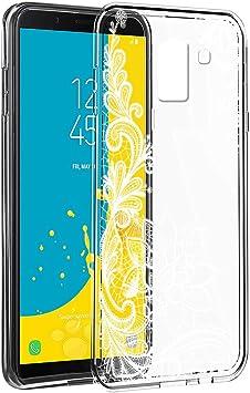 Eouine Funda Samsung Galaxy J6 2018, Cárcasa Silicona 3D Transparente con Dibujos Diseño Suave Gel TPU [Antigolpes] de Protector Case Fundas para Movil Samsung J62018-5,6 Pulgadas (Flor Blanca): Amazon.es: Electrónica