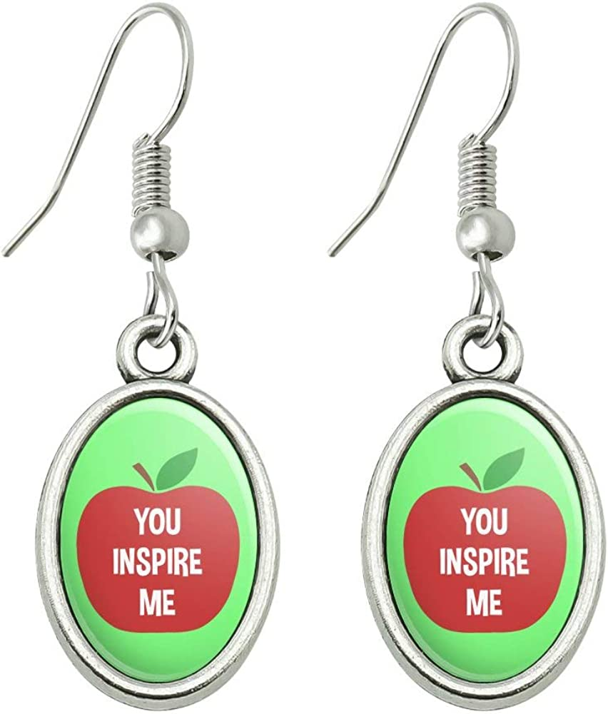 GRAPHICS & MORE You Inspire Me Teacher Apple Novelty Dangling Drop Oval Charm Earrings