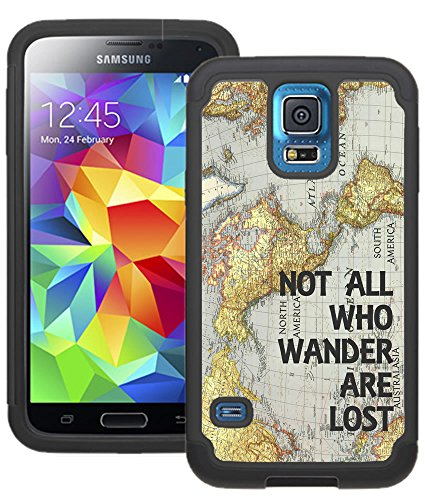 CorpCase Samsung Galaxy S5 Case - Not all who wander are lost world map/ Hybrid Unique Case With Great Protection