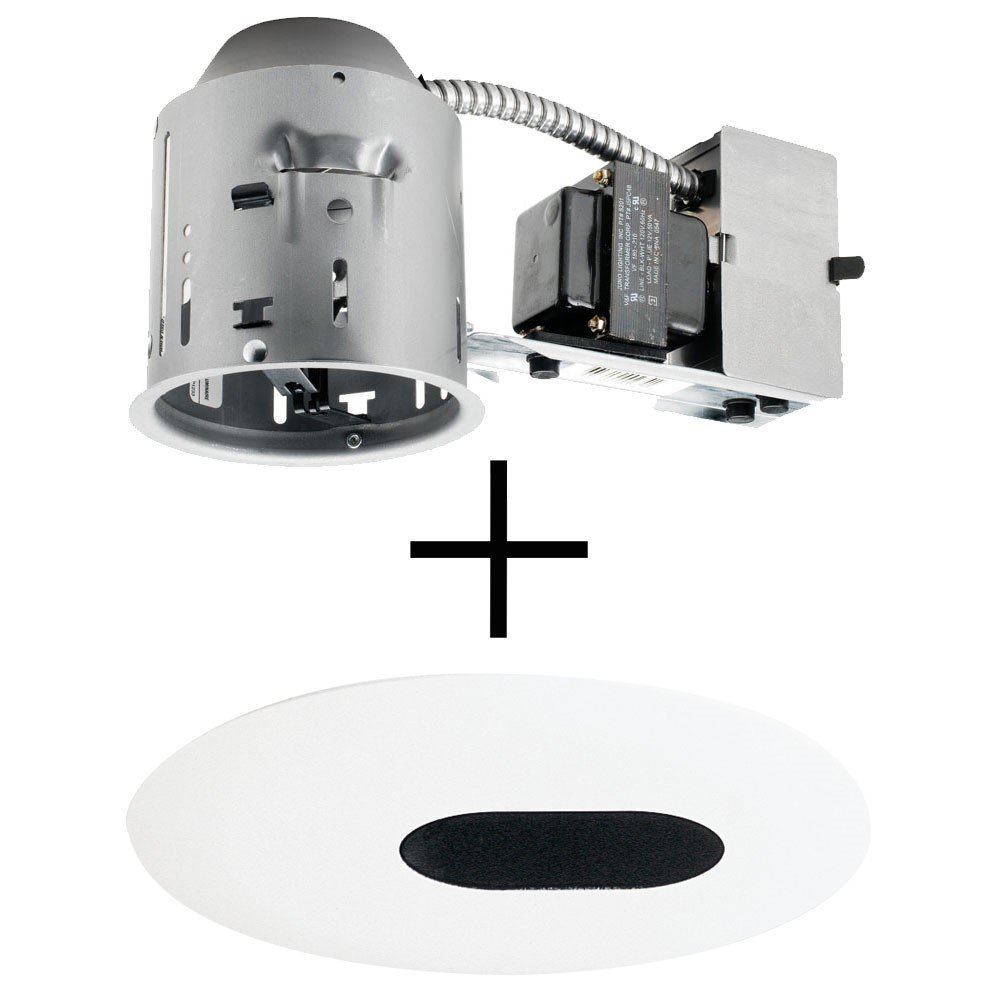 Juno Lighting TC44R & 445-WH Combo 4-Inch Low-Voltage TC rated Remodel Recessed Housing with Adjustable/Downlight Slot Aperture Trim, White