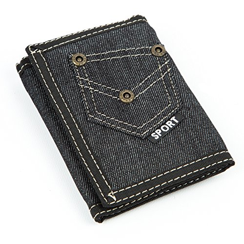 Sport Men's Demin Jean Tri-fold Wallet with Coin Pocket & Belt Chain (model 2) (Chain Belt Jean)
