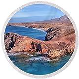 Pixels Round Beach Towel With Tassels featuring ''Playa Papagayo - Lanzarote'' by Joana Kruse