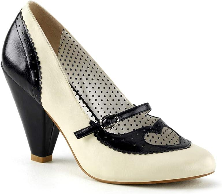 Pinup Couture POPPY-18, Zapatos de tacón con Punta Cerrada para Mujer, Negro (Black-Cream Faux Leather B-CRPU), 39 EU
