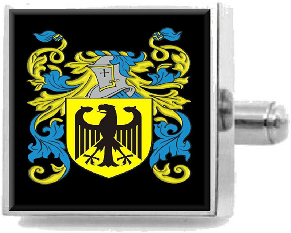 Select Gifts Landrum Scotland Family Crest Surname Coat Of Arms Cufflinks Personalised Case