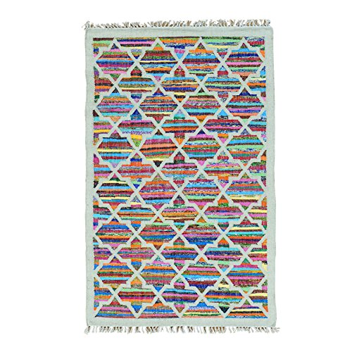 Hand Woven Geometric Design Kilim Wool and Sari Silk Rug (4′ x 6'4″)