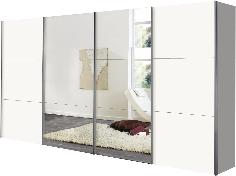 Solutions 44986 – 070 Armario con Puertas correderas, 4 Puertas, 400 x 236/T 58 cm, Color Blanco Polar/Espejo, Paneles y Mango Plisada Blanco: Amazon.es: Hogar