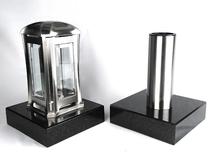 designgrab Grablampe Venezia und Grabvase Tube aus Edelstahl mit 2 Stück Granitsockel, Grablampen Grableuchte Grablaterne Gra