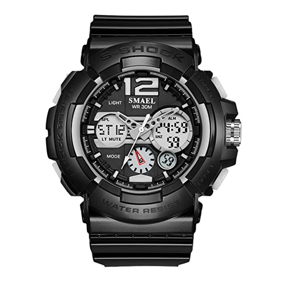 Relojes Digitales para Niños con Números Grandes Relojes Electrónicos de Cuarzo para Deportes Militares Negro: Amazon.es: Relojes