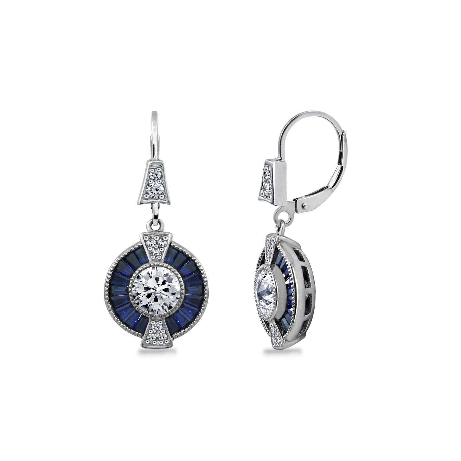DIAMONBLISS Sterling Silver Synthetic Blue Sapphire and Cubic Zirconia Earrings