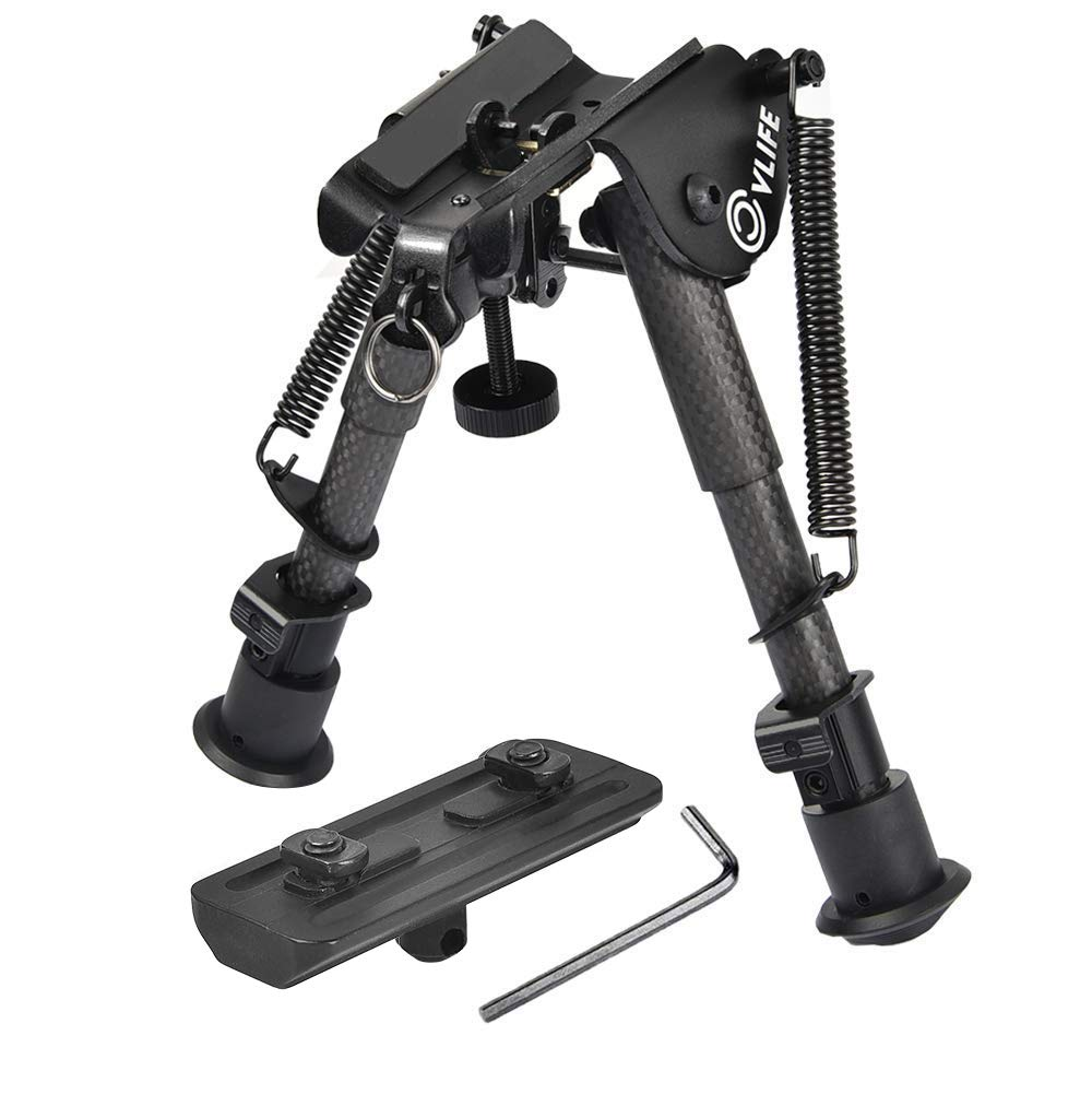 CVLIFE 6-9 Inches Carbon Fiber Rifle Bipod with M-lok Mount Adapter for Hunting and Shooting by CVLIFE