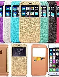 YULIN artístico flor palacio fenestración billetera con caja cubierta de la caja de células soporte móviles para el iphone 6 4,7 (colores , light blue