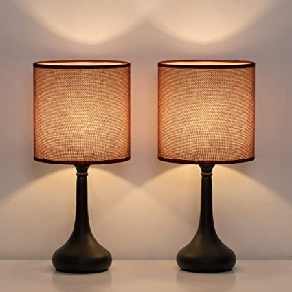 HAITRAL Small Table Lamps - Vintage Nightstand Lamps Set of 2, Bedside Desk  Lamps for Bedroom, Living Room, Office, Kids Room with Metal Base & Fabric  ...