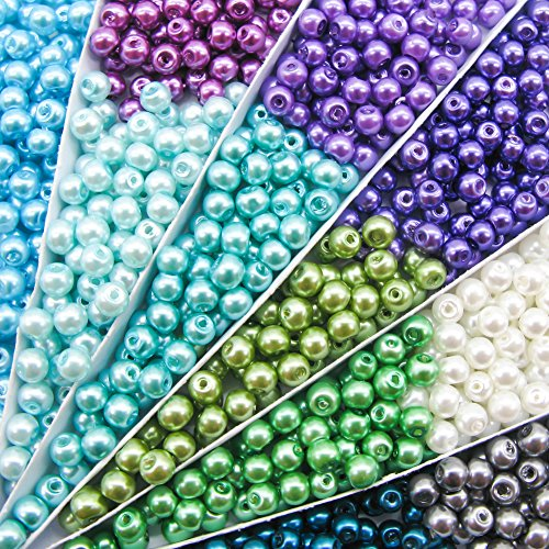 TOAOB 1100pcs 4mm Tiny Satin Luster Glass Pearl Beads Multi Colors Wholesale Loose Beads Kit for Jewelry (Pearl Beads Bulk)