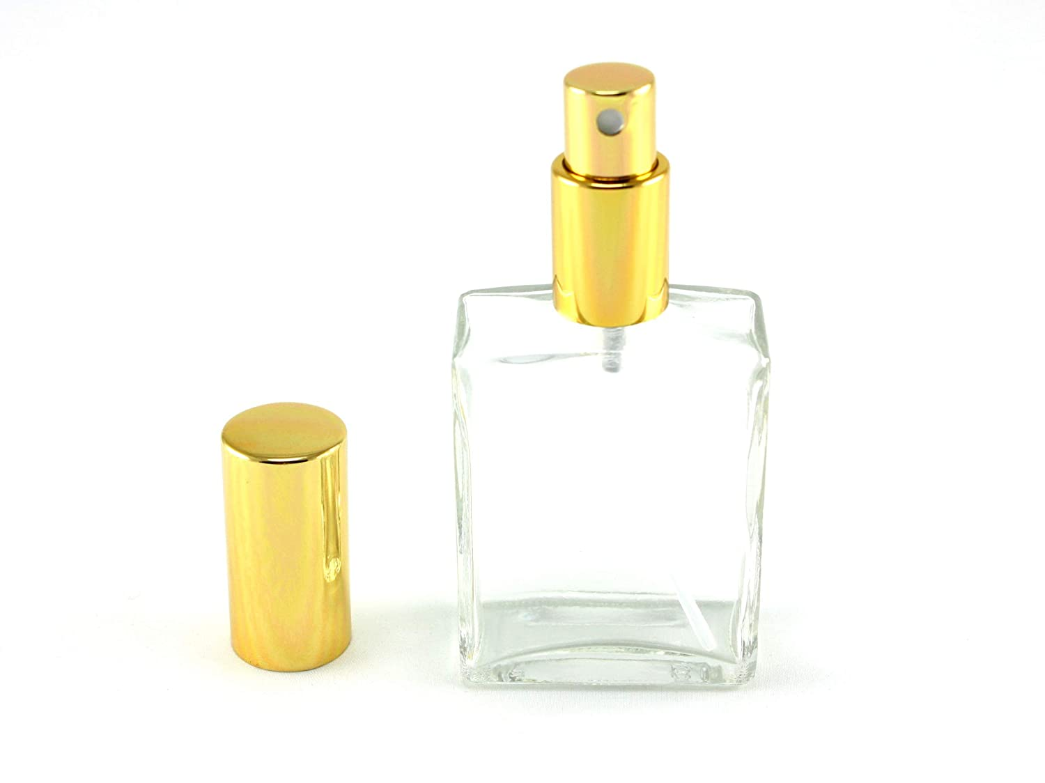 Skyway Refillable Travel Size 2 OZ Perfume Fragrance Bottle TSA Approved Pump Atomizer Spray Perfect for Purse and Traveling – Glass with Gold Accents