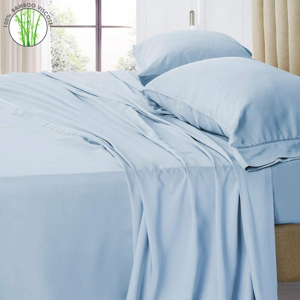 """PANDATEX 400TC 100% Bamboo Viscose Bed Sheets Set Cooling Softest Hypoallergenic Eco-Friendly Bedding Sets with 18"""" Deep Pocket (King Size, Light Blue)"""