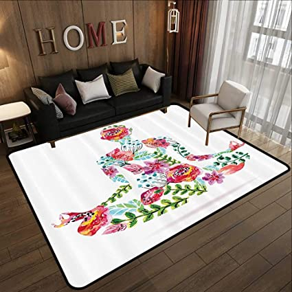 Amazon.com: Modern Abstract Area Rug,Yoga Decor Collection ...