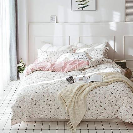 Amazon vclife floral duvet cover sets twin girls cotton bedding vclife floral duvet cover sets twin girls cotton bedding sets 3 pieces pink white flower garden mightylinksfo