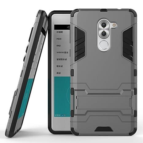 Funda para Huawei Mate 9 Lite/Honor 6X (5,5 Pulgadas) 2 en 1 Híbrida Rugged Armor Case Choque Absorción Protección Dual Layer Bumper Carcasa con pata ...