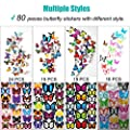 Wall Decal Butterfly, 80 PCS Wall Sticker Decals, 3D Butterfly Stickers for Room Home Nursery Decor from Heansun