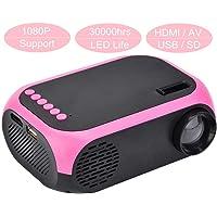 Tosuny Portátil Proyector 1080P, Mini Proyector LED con Altavoz, Soporte USB SD HDMI AV para Home Cinema(Enchufe EE.UU)