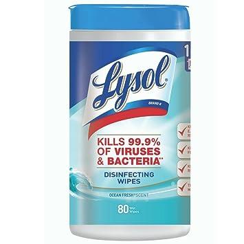 Lysol desinfección toallitas, Ocean Fresh, 80 CT (Pack de 10)
