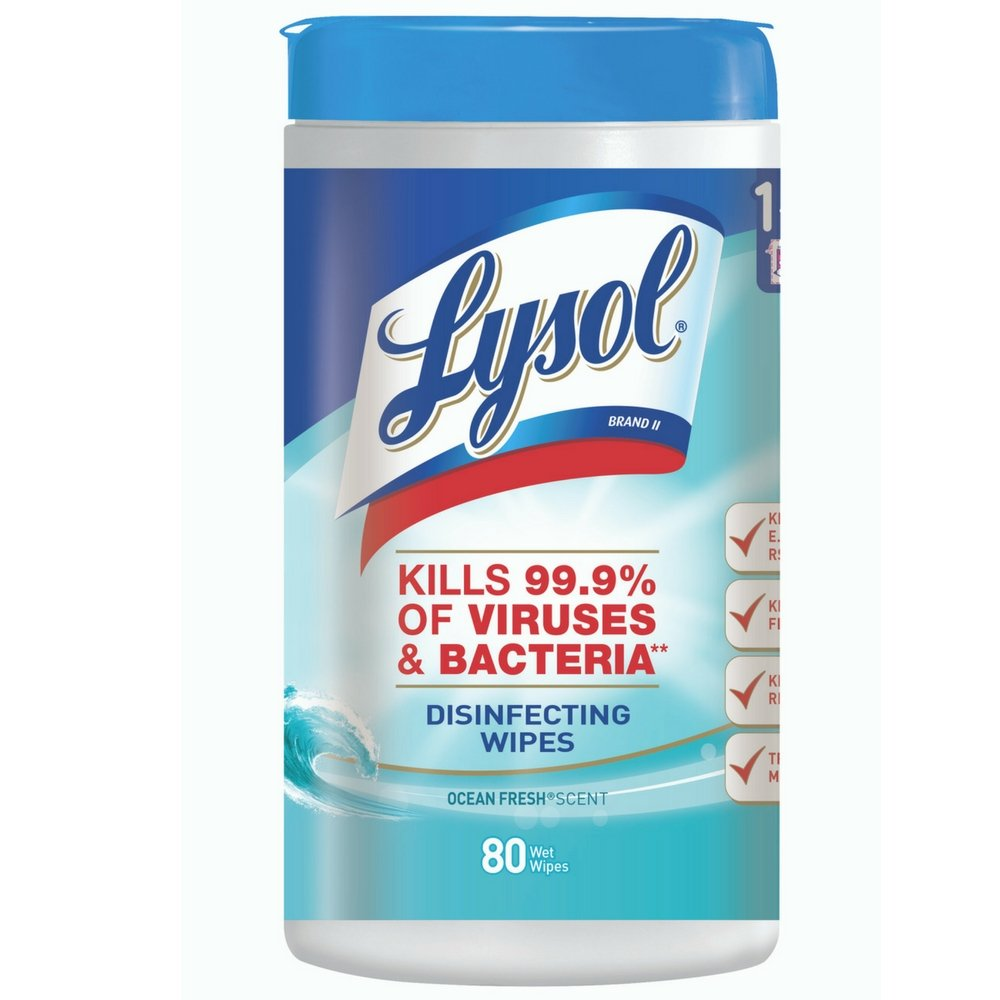 Lysol Disinfecting Wipes, Ocean Fresh, 80 ct (Pack of 7)