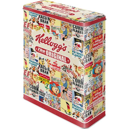Kellogg's Collage Storage Tin/XL 8 x 19 x 26 CM Great CAN in Retro Nostalgia Design Nostalgic Art 30308