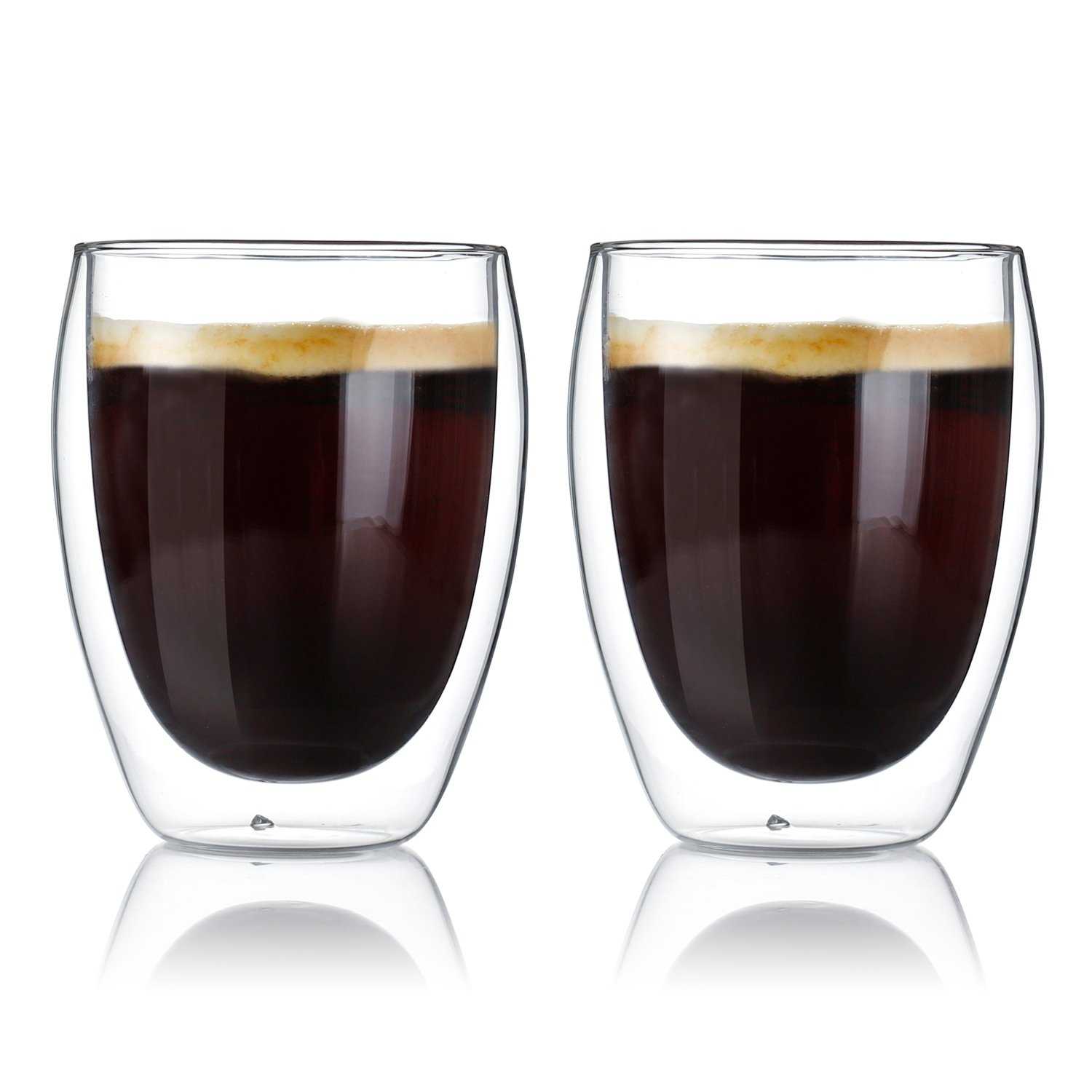 Sweese 4604 Glass Coffee Mugs - 12 Ounces, Double Wall Insulated Glasses Suitable for Cappuccino, Latte, Cream, Tea, Kinds of Beverage, Set of 2