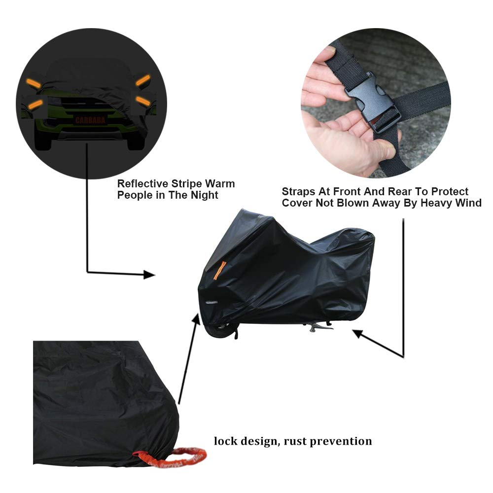 Motorcycle Cover Waterproof//Dustproof//Snowproof//UV Protection Motorcycle Covers 5 Layer Breathable fabric with cotton fit for most types(102 L x41 W x49 H) XiCheng Car Products