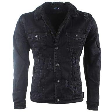 jeans jacke gefüttert teddy schwarz