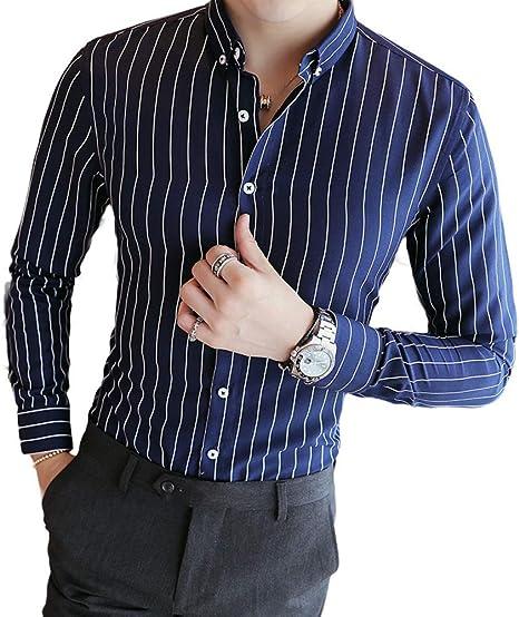 Hombre Azul Italiano Rayado Camisa Estilo Informal Cuello