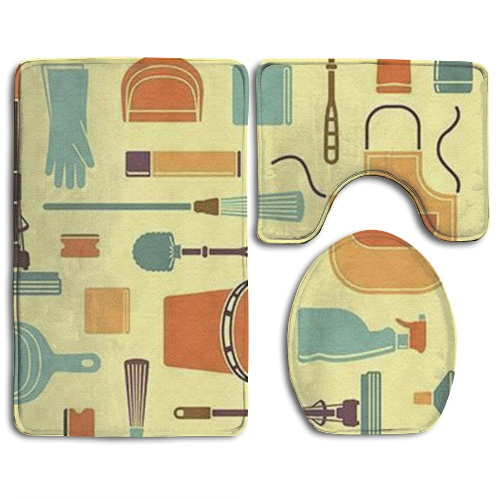 NEW Clean The Tool Popular Bath 3-Piece Rug Set For Unisex