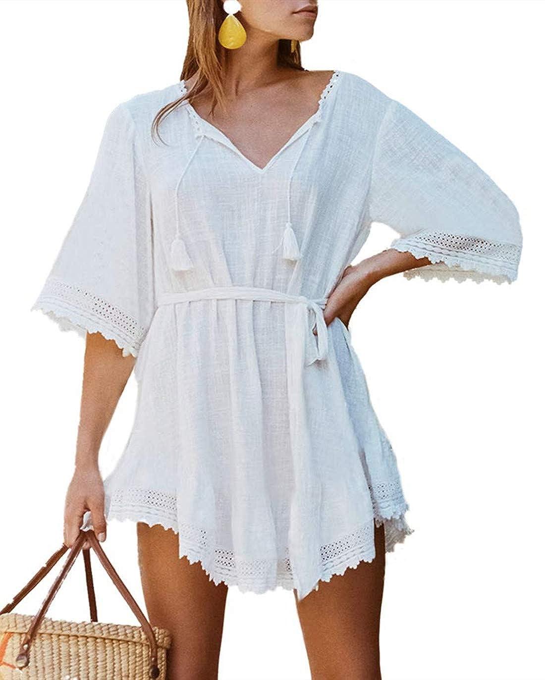 PANAX ERGEOB Damen Baumwolle Spitze Strand Bikini Kittel Strandkleid weiß