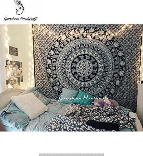 Amazon Com Black White Elephant Mandala Hippie Home Decor