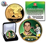 AARON RODGERS PACKERS WISCONSIN 24KT GOLD QUARTER/COIN! W/H COA & DISPLAY BOX!