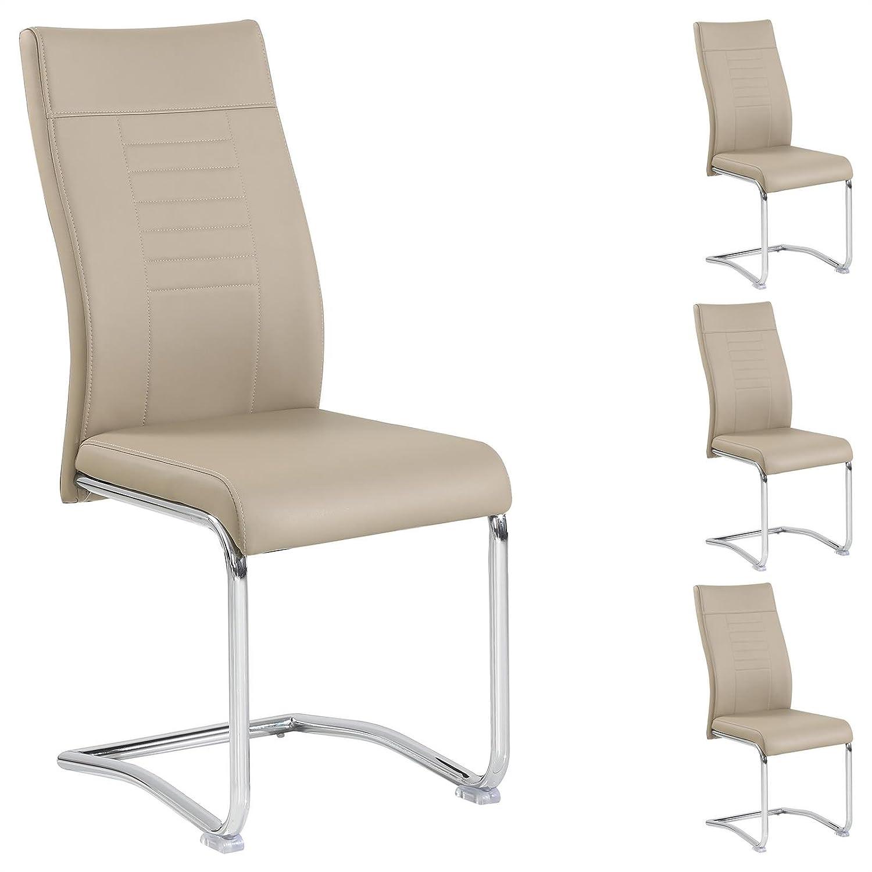 CARO-Möbel 4er Set Esszimmerstuhl Küchenstuhl Schwingstuhl Loano, Gestell in Chrom, Bezug aus Lederimitat in braun