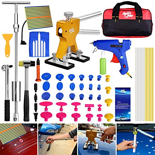 Auto CAR Body Restore Tool Paintless Dent Repair Tools PDR Puller Gold Dent Lifter Puller Tabs Red Glue Sticks ()