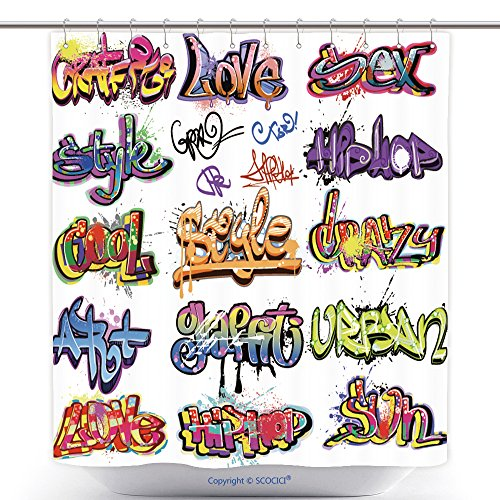 Hop Hip Ebay Costumes (Stylish Shower Curtains Graffiti Urban Art Hip Hop Grafitti Words Background Grunge Street Tags And Funky Text Elements 45678109 Polyester Bathroom Shower Curtain Set With)