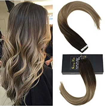 Sunny 22inch Human Hair Extensions Tape In Balayage Dark Brown To Light Brown Highlighted Natural