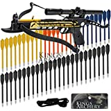 Crossbow Self-Cocking 80 LBS by KingsArchery® with Hunting Scope, Spare Crossbow String and Caps, 3 Aluminium Arrow Bolts, and Bonus 60-pack of Colored PVC Arrow Bolts + KingsArchery® Warranty