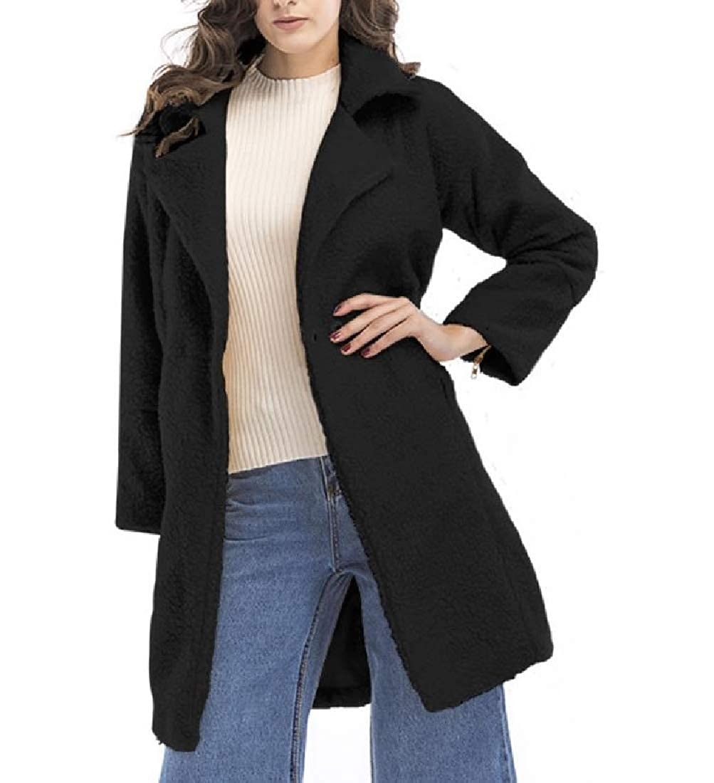 Black Vska Women's Suede Thickening Fall Winter Premium Warm Duffle Coat