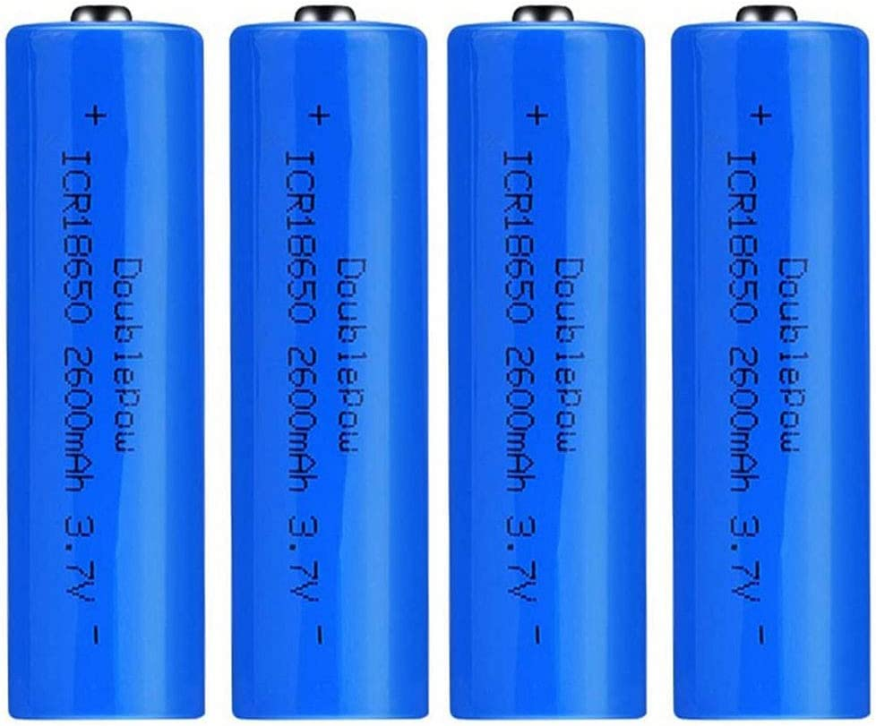 4 Pcs Batería 18650 Recargable Litio Lones Pilas 3.7V 2600mah Capacidad Baterías de Litio Células Acumuladoras para Timbre de Puerta, LED Linterna Antorcha (Puntiagudo)