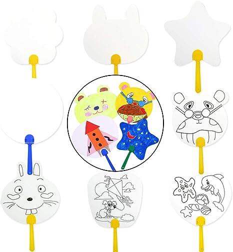 Joyibay 8PCS Mano Ventilador Patrón De Dibujos Animados Pintura En ...