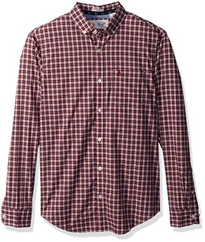 Mini Tartan Shirt - Original Penguin Men's P55 Mini Plaid Dress Shirt, Pomegranate, Extra Extra Large