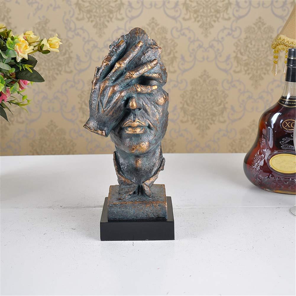 MUZIDP Resin Statue,Nicht hören Nicht sehen Home Dekoration Wohnzimmer Abstrakte skulptur Statue Schlafzimmer möbel Handwerk-Q 12x11x34cm(5x4x13inch)