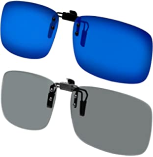 Clip on Sunglasses Polarized Flip Up Clip onto prescription eyeglasses Set of 2 for Men and